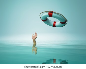 Thrown life buoy saving drowning person. This is a 3d render illustration