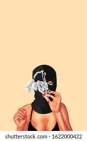 Thug girl smokes a joint !