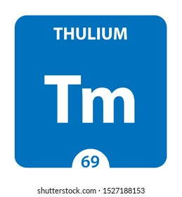 Thulium Chemical 69 element of periodic table. Molecule And Communication Background. Thulium Chemical Tm, laboratory and science background. Essential chemical minerals and micro elements