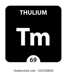 Thulium symbol. Sign Thulium with atomic number and atomic weight. Tm Chemical element of the periodic table on a glossy white background. Experiments in the laboratory. science ant technology concept