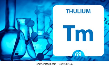 Thulium Tm, chemical element sign. 3D rendering isolated on white background. Thulium chemical 69 element for science experiments in classroom science camp laboratory. laboratory, science concept