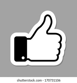 thumb up applique, raster illustration
