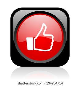 thumb up black and red square web glossy icon
