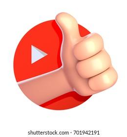 Thumb up cartoon hand. 3d rende