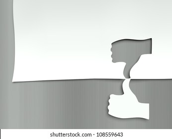 Thumb up and down, concept of different opinions