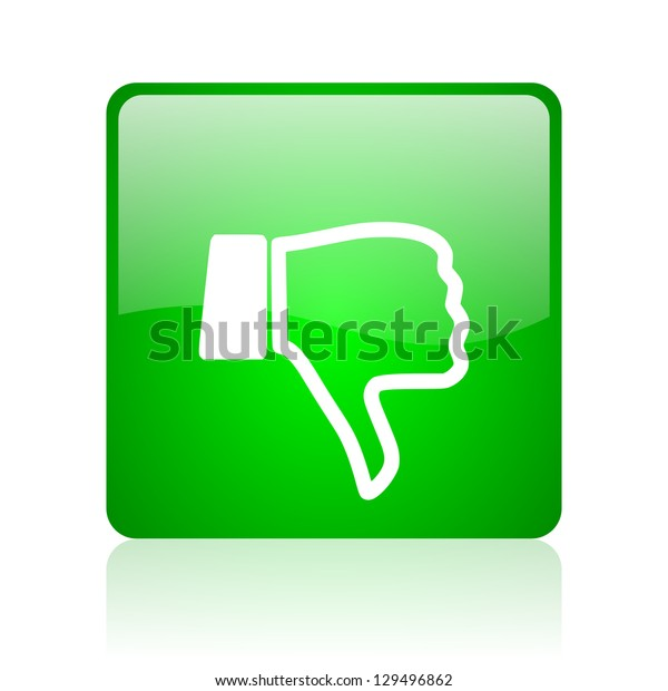 thumb down green square web icon on white background