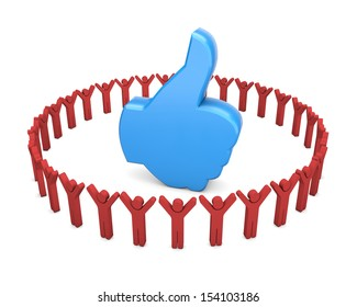 thumb up good social media share 3d symbol icon button