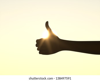 Thumb Up - Hand in front of Sun