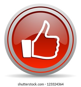 thumb up red glossy icon on white background