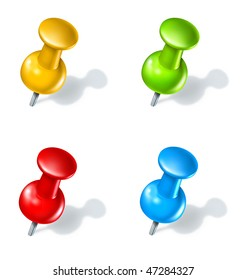 thumb tack push pin multicolor  options isolated on white