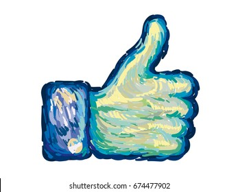 Thumb up vector icon. Van Gogh brushed style