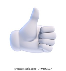 Thumb up white cartoon hand 3d rendering