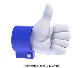 Thumb up white cartoon hand with blue sleeve, 3d rendering