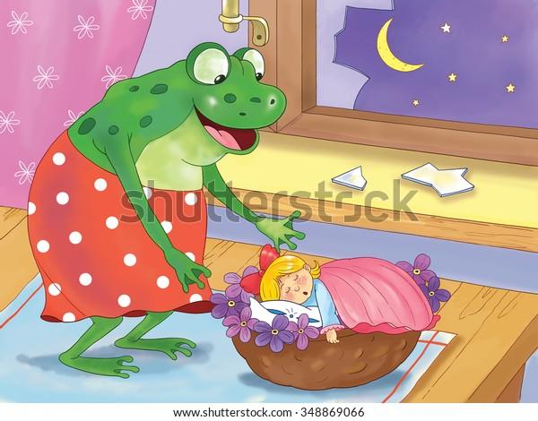 Thumbelina Fairy Tale Cute Tiny Girl Stockillustration 348869066