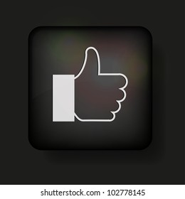 thumbs up icon on black