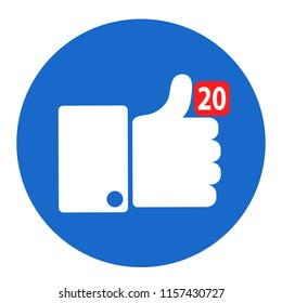 Thumbs up like social network icon with new appreciation number symbol. Idea - blogging and online messaging, social networking services