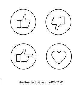 Thumbs up thin line icons set. Outline style circle icons isolated on white background