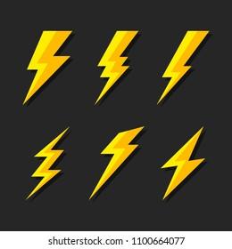 Thunder and Bolt Lighting Flash Icons Set. Flat Style on Dark Background.