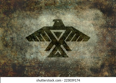 The Thunderbird, Native American Symbol of the Anishinaabe people. Heavily textured and distressed light stone wall version
