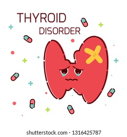 Thyroid gland disorder poster. Hyperthyroidism goiter symbol. Cute unhealthy thyroid gland icon in cartoon style. Body anatomy sign. Human endocrine system. Medical internal organ illustration.