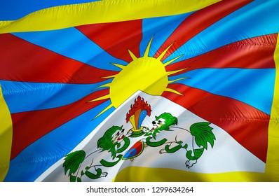 Tibet flag. 3D Waving flag design. The national symbol of Tibet, 3D rendering. Tibetan National colors. National flag of Tibet for a background. Tibet sign on smooth silk