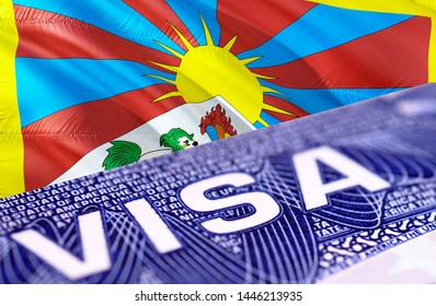 Tibet visa document close up, 3D rendering. Passport visa on Tibet flag. Tibet visitor visa in passport. Tibet multi entrance visa in passport. Close up of a document and passport