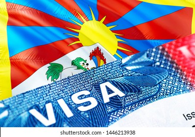 Tibet Visa Document, with Tibet flag in background, 3D rendering. Tibet flag with Close up text VISA on USA visa stamp in passport.Visa passport stamp travel Tibet business