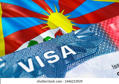 Tibet Visa in the passport, 3D rendering. Closeup Visa to The Tibet focusing on the word VISA. Travel Tibet visa in passport close-up. Tibet multi entrance in passport