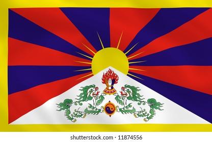 Tibetan waving flag