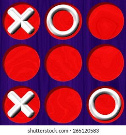 Tic Tac Toe wooden purple board with white symbol on red background