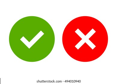Tick and cross signs. Green checkmark OK and red X icons, isolated on white background. Simple marks graphic design. Circle shape symbols YES and NO button for vote, web. illustration
