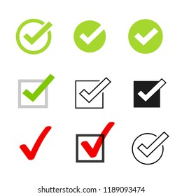 Tick icons symbol set, checkmarks collection isolated on white background, checked icon or correct choice sign, check mark or checkbox pictogram image