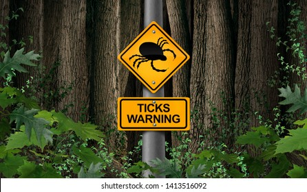 Tick parasite warning as signage or danger sign as a scary illness carrier bug mite as a risk for lyme disease in the wild with 3D illustration elements.