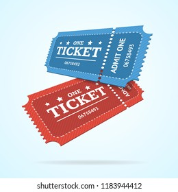 Ticket Fly Blank Admit Set Retro Old Style for Entertainment, Party and Amusement Show. illustration of two tickets view