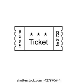 ticket icon in the outline style of illustration ticket stub isolated on a background