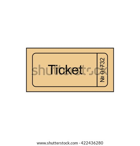 ticket icon in the outline style ticket stub isolated on a background
