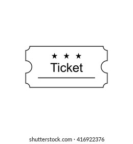 Ticket icon in the outline style, vector illustration. Ticket stub isolated on a background. Retro cinema, movie ticket icon.