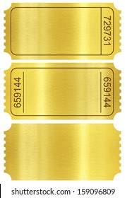 Ticket set. Golden ticket templates set isolated on white with clipping path included.