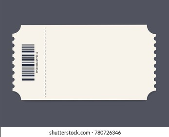 Ticket template. illustration. Event card or Cinema Ticket Element guideline for design. Clean realistic pass mockup
