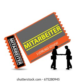 ticket with the word: Mitarbeiter, what means: Employee