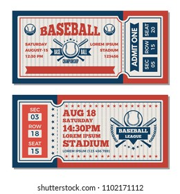 Tickets design template at baseball tournament. baseball ticket, sport game competition illustration
