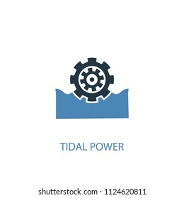 Tidal power concept 2 colored icon. Simple blue element illustration. Tidal power concept symbol design from green energy set. Can be used for web and mobile UI/UX