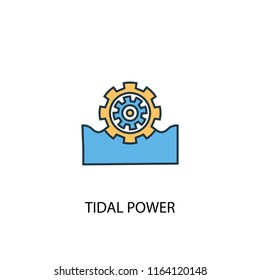 Tidal power concept 2 colored line icon. Simple yellow and blue element illustration. Tidal power concept outline symbol design from green energy set