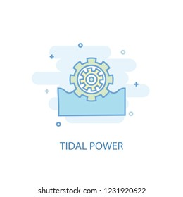 Tidal power line trendy icon. Simple line, colored illustration. Tidal power symbol flat design from Green Energy set. Can be used for UI/UX