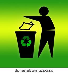 Tidyman throwing waste in recycling bin on green
