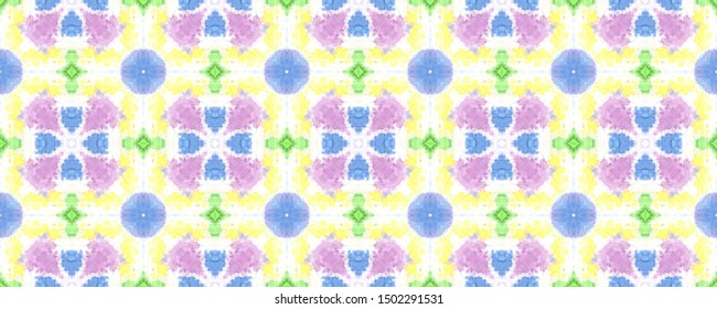Pink BATIK  YELLOW  w//  Aqua Purple  LINES  Cotton Fabric By Yard Green