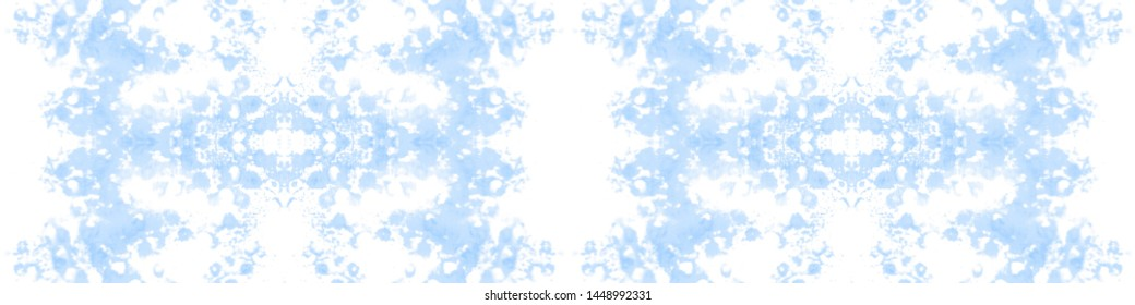 Tie dye. Dyed seamless texture. Traditional classic ornament. Craft ethnic adornment. Handmade artistic endless backdrop. Azure, white tie dye.