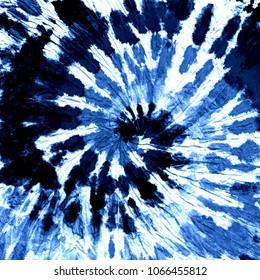 Tie dye pattern. Hand drawn blue indigo shibori print. Ink textured japanese background. Modern batik wallpaper paper. Watercolor template. Marble, suminagashi, erbu dye design. Hippie boho fabric.