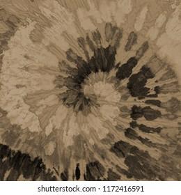 Tie dye pattern. Spiral hand drawn shibori print. Ink textured japanese background. Modern batik wallpaper. Watercolor multicolor template. Marble, suminagashi, erbu sepia design. Hippie boho fabric.