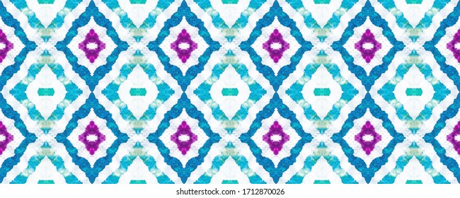 Tie Dye print. Seamless Ethnic Pattern. Iridescent Color. Papirus Textile. West Texture Hand paint. Violet White. Reflecting Tone. Geometry.